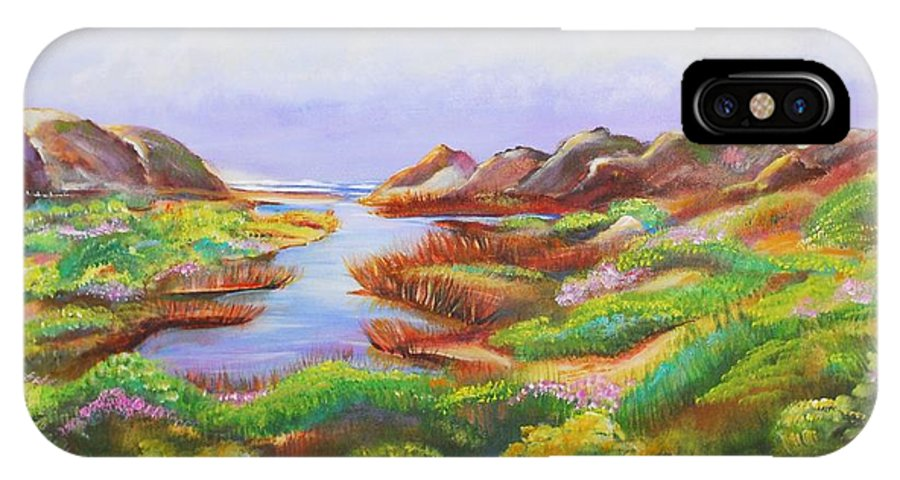 Landscape IPhone X Case featuring the painting California Coast by Patricia Piffath