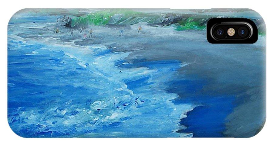California Coast IPhone X Case featuring the painting California Coastline Impressionism by Eric Schiabor