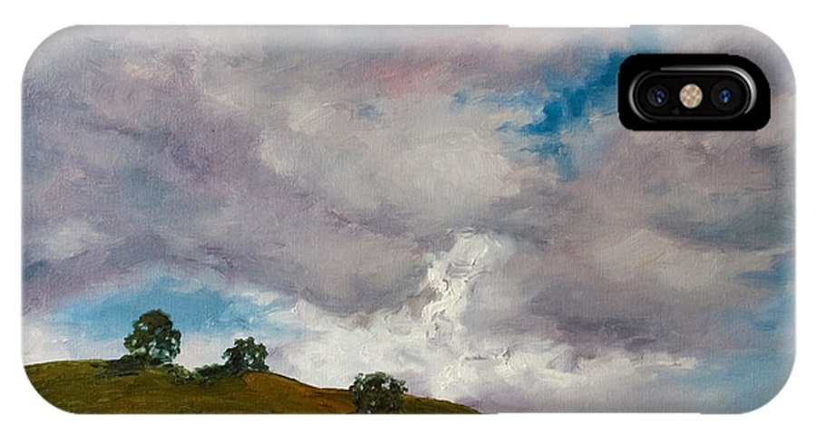 Sky IPhone Case featuring the painting California Hills by Rick Nederlof