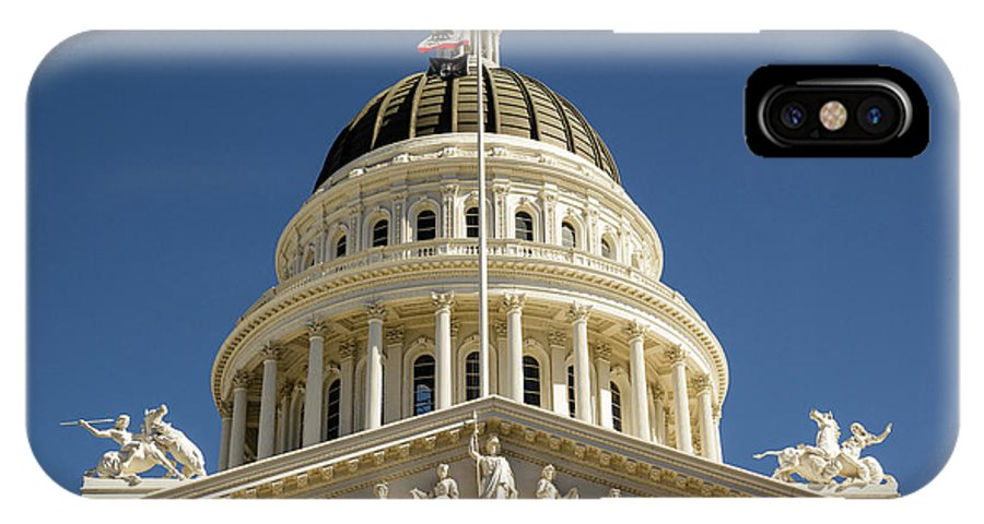 Architecture IPhone X Case featuring the photograph California State Capitol Cupola by Juan Romagosa