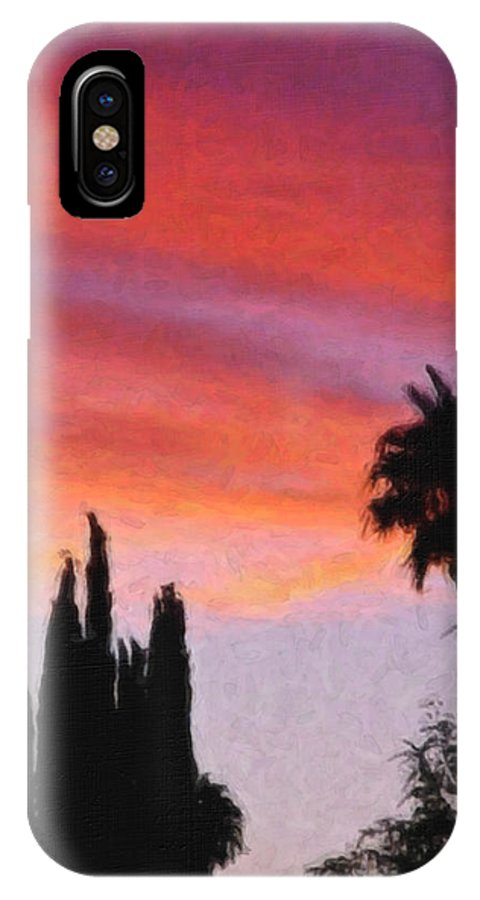 California IPhone X Case featuring the painting California Sunset Painting 3 by Teresa Mucha