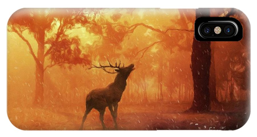 Landscape IPhone X Case featuring the painting Call Of The Wild by Sarah Kirk