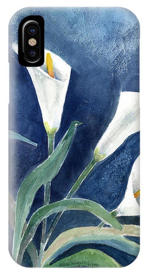 Lily IPhone X Case featuring the painting Calla Lilies by Arline Wagner
