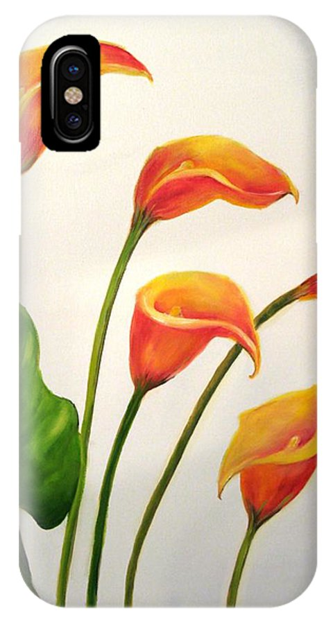 Calla Lilies IPhone X Case featuring the painting Calla Lilies by Carol Sweetwood