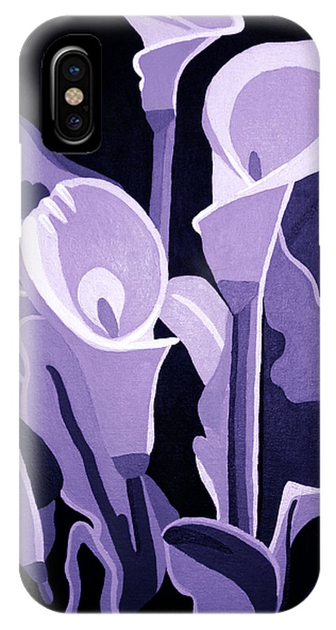 Calla Lillies IPhone X Case featuring the painting Calla Lillies Lavender by Angelina Vick