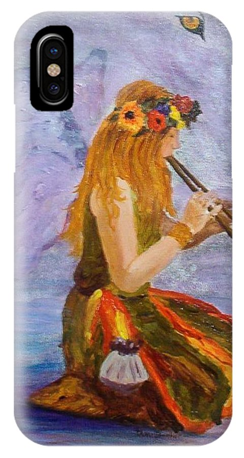 IPhone X Case featuring the painting Calling the wolf spirit by Tami Booher