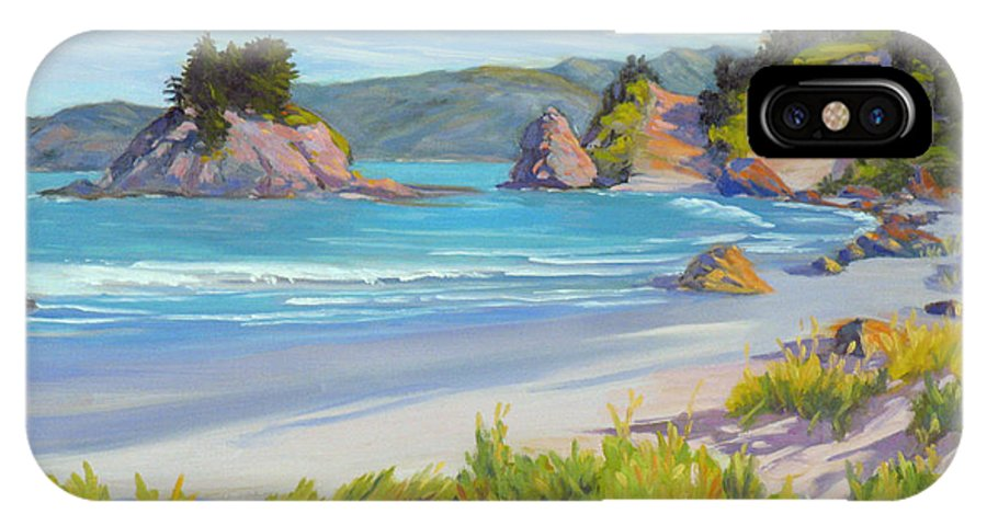 California Coast IPhone X Case featuring the painting Calm Ocean Waters by Rhett Regina Owings