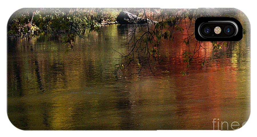 River IPhone X Case featuring the photograph Calm Reflection by Linda Shafer