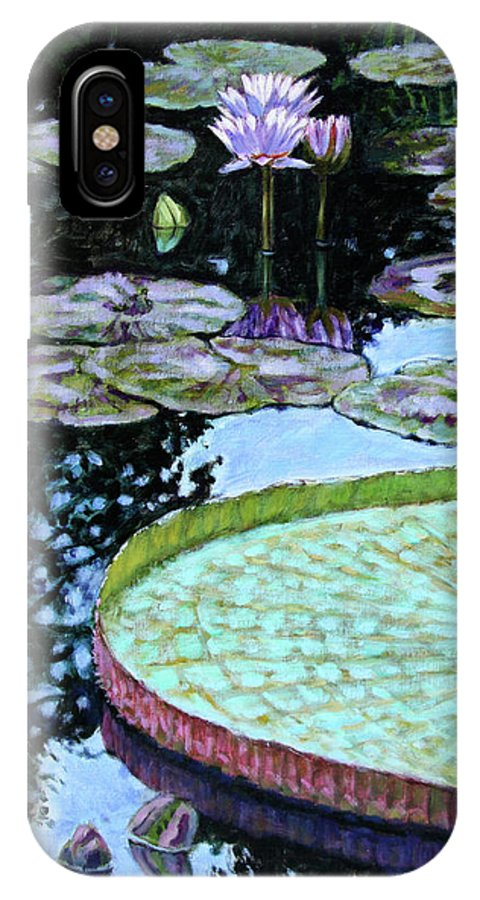 Water Lilies IPhone X Case featuring the painting Calm Reflections by John Lautermilch