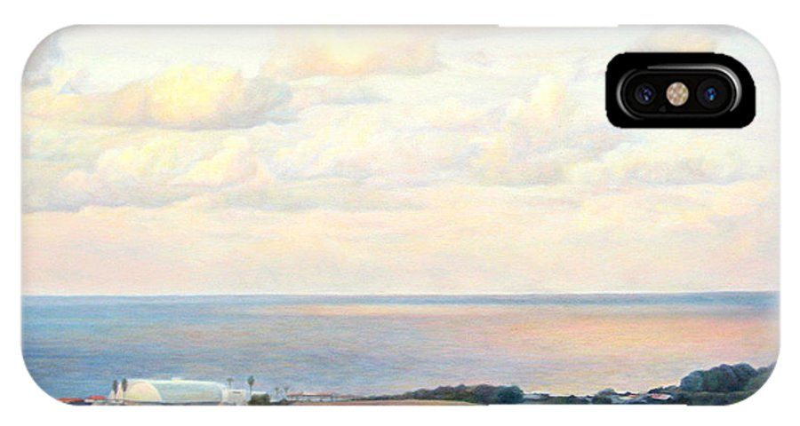 Beach IPhone X Case featuring the painting Calm Sea... View From My Balkon by Maya Bukhina