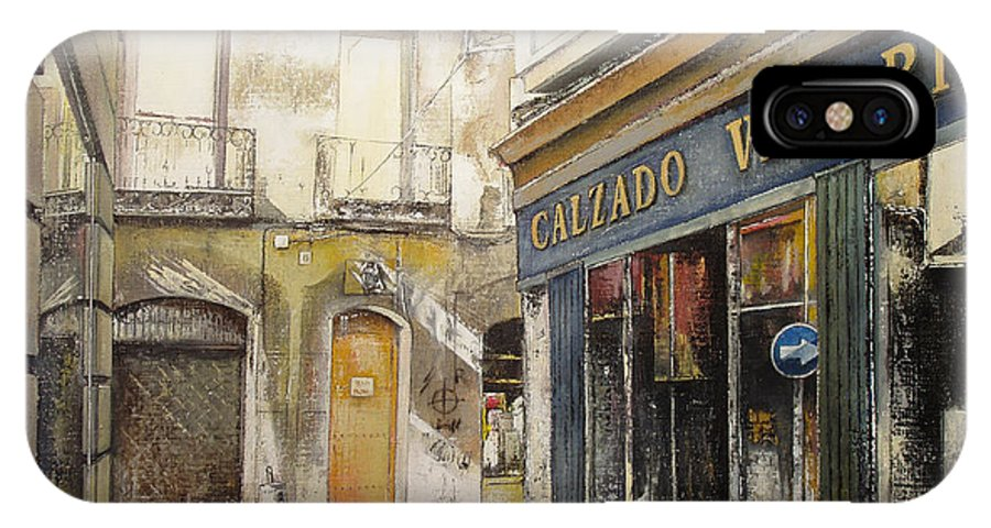 Calzados IPhone X Case featuring the painting Calzados Victoria-leon by Tomas Castano