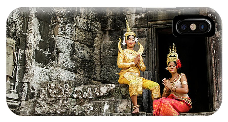 Asia IPhone X Case featuring the photograph Cambodian Dancers At Angkor Thom by Michele Burgess