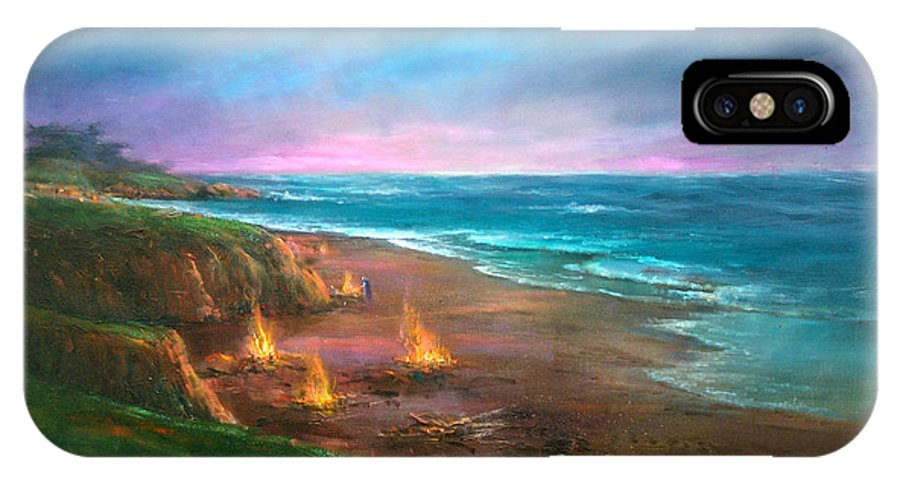 Ocean IPhone X Case featuring the painting Cambria's 4th Of July by Sally Seago