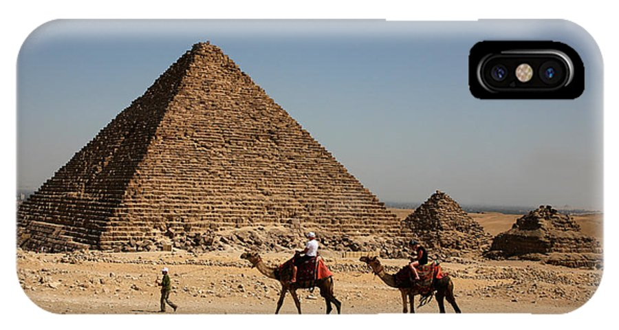 Camels IPhone X Case featuring the photograph Camel Ride At The Pyramids by Donna Corless