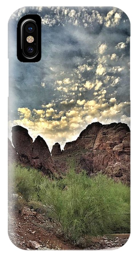 Clouds IPhone X Case featuring the photograph Camelback Mt by Shaina Najim