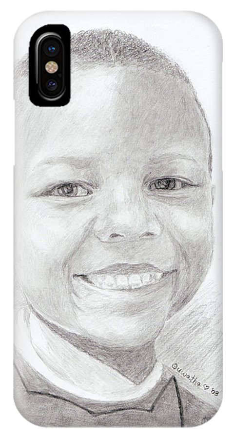 Cameron IPhone X Case featuring the drawing Cameron by Quwatha Valentine