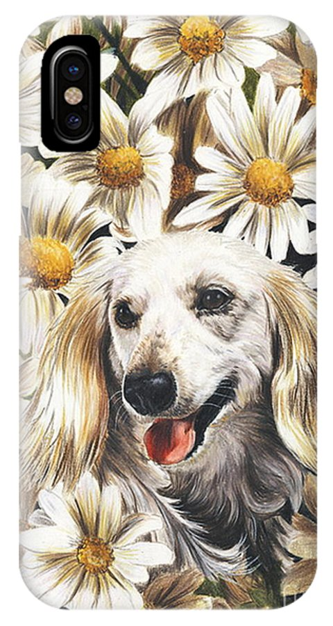 Dachshund IPhone X Case featuring the drawing Camoflaged by Barbara Keith