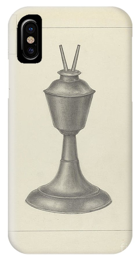 IPhone X Case featuring the drawing Camphene Lamp by Herman Bader