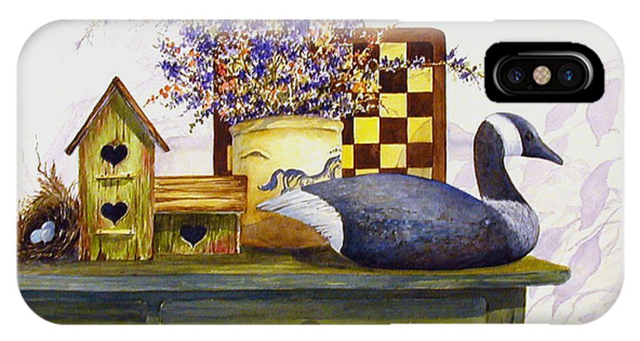 Canada Goose;birdhouse;bird Nest;crock;checkerboard;still Life;country Still Life; IPhone Case featuring the painting Canada And Checkerboard by Lois Mountz