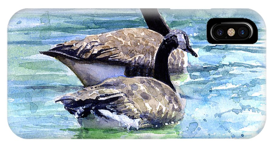 Canada IPhone X Case featuring the painting Canada Geese by John D Benson