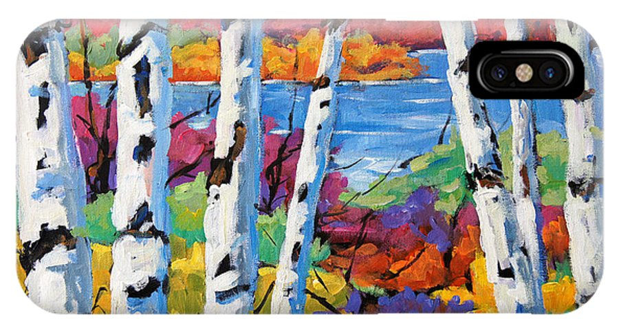 Canadian Landscape Created By Richard T Pranke IPhone X Case featuring the painting Canadian Birches By Prankearts by Richard T Pranke