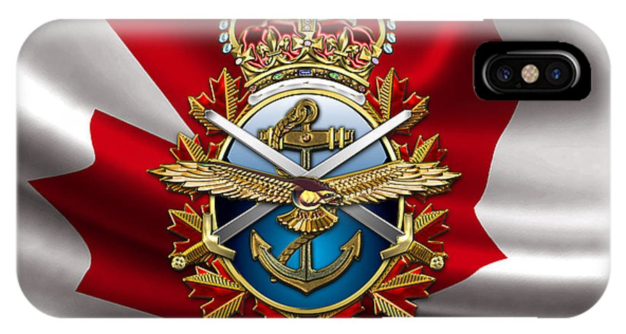 Military Insignia 3d By Serge Averbukh IPhone X Case featuring the photograph Canadian Forces Emblem Over Flag by Serge Averbukh