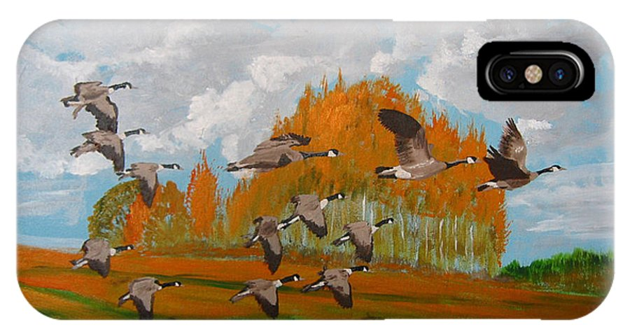 Canadian Geese IPhone X Case featuring the painting Canadian Geese by Richard Le Page