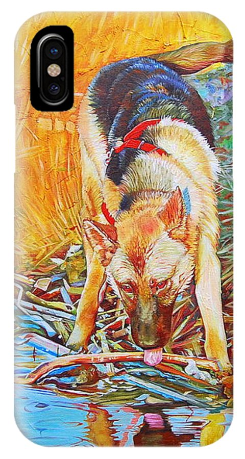German Shepheard IPhone X Case featuring the painting Canadian Out Back by Kelly McNeil