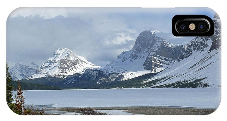 Canadian Rockies IPhone X Case featuring the photograph Canadian Rockies Bow Lake by Mark Grayden