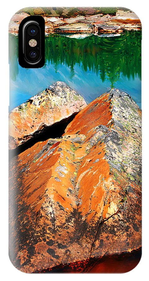 Granite IPhone X Case featuring the painting Canadian Rockies by Lisa Redfern