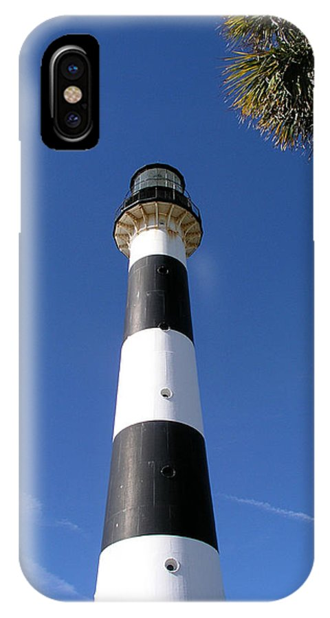 Cape; Canaveral; Light; Lighthouse; Lighthousekeeper; Keeper; Stairs; Kennedy; Space; Center; Air; F IPhone X Case featuring the photograph Canaveral Light by Allan Hughes