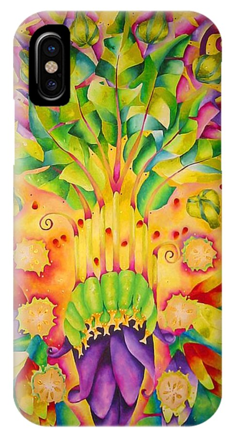 Flower IPhone X Case featuring the painting Canbur by Elizabeth Elequin