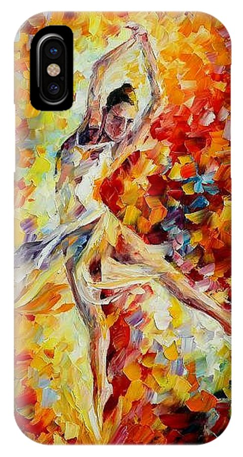 Danse IPhone X Case featuring the painting Candle Fire by Leonid Afremov