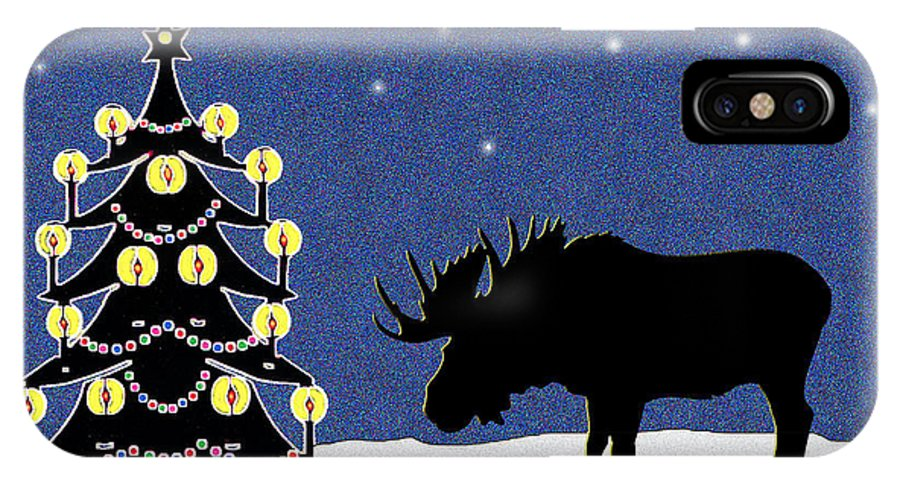 Moose IPhone Case featuring the digital art Candlelit Christmas Tree And Moose In The Snow by Nancy Mueller