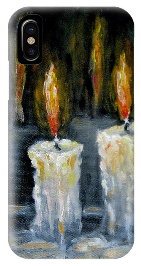 Candles IPhone X / XS Case featuring the painting Candles Oil Painting by Natalja Picugina