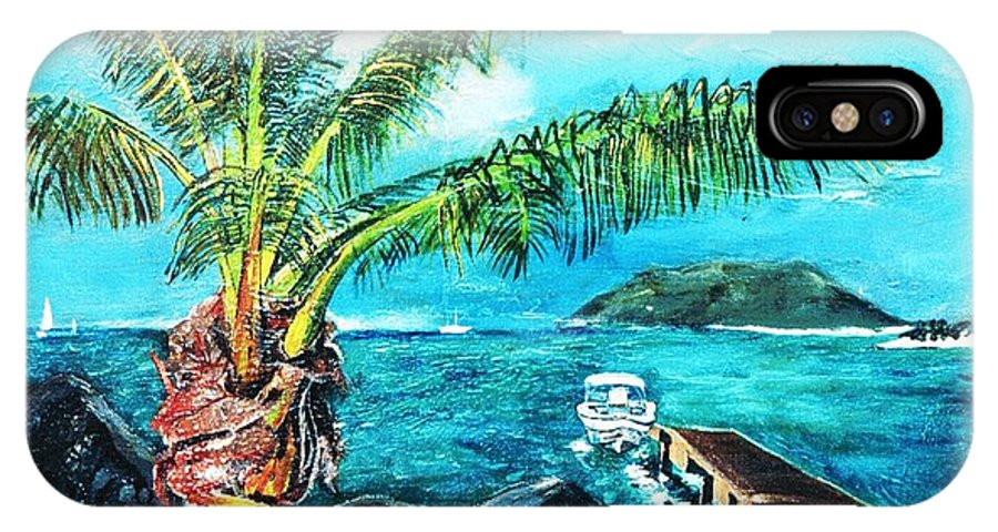 Seascape At Cane Garden Bay With The Horizon With The Blue Sky And Blue Sea With The Dock Disappearing Perspective. The Dark Igneous Rocks And Islands Sitting On The Horizon.  IPhone X Case featuring the painting Cane Garden Bay Tortola 1997 by Andre Francis