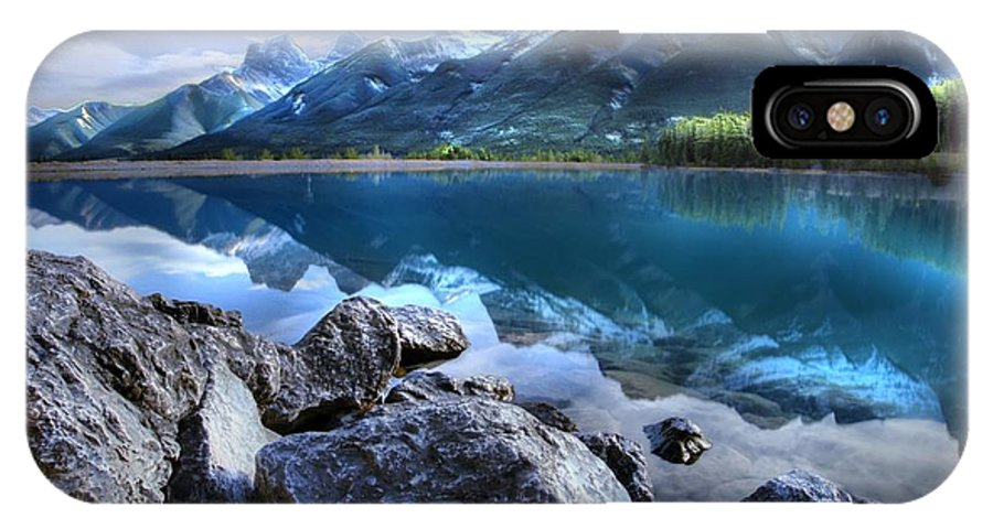 Canmore IPhone X Case featuring the photograph Canmore Reservoir Under A Setting Sun by Ken McMullen