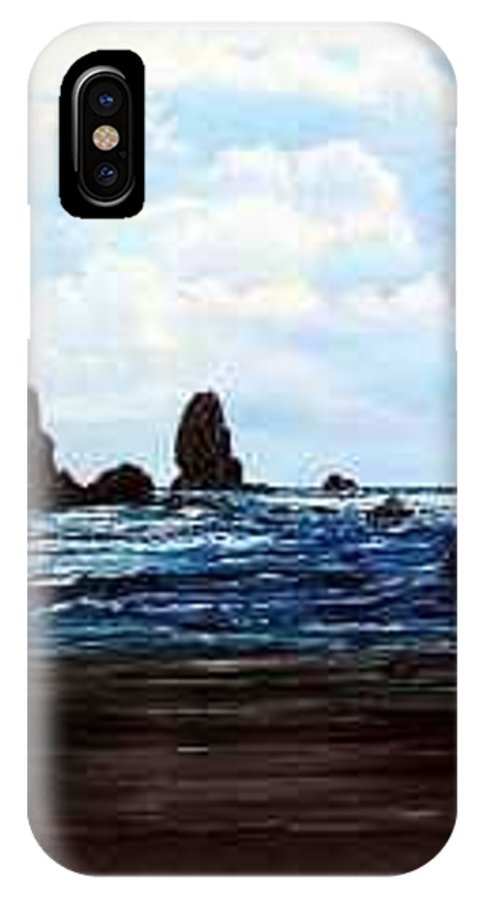 This Is Cannon Beach Oregon. This Painting Is Framed In A Lovely Gold Tone Frame. IPhone X Case featuring the painting Cannon Beach by Darla Boljat