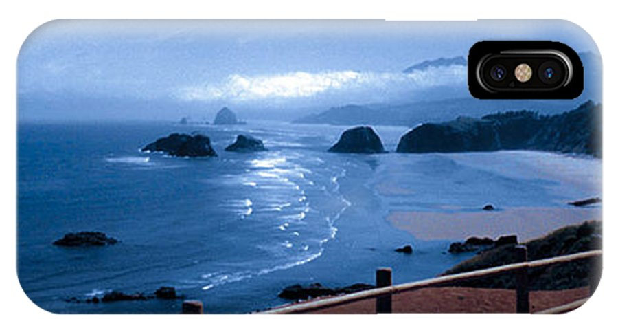 Cannon Beach IPhone X Case featuring the photograph Blue Waters On Cannon Beach by Joanne Rungaitis