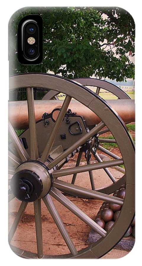 Field IPhone X Case featuring the painting Cannon Gettysburg by Eric Schiabor