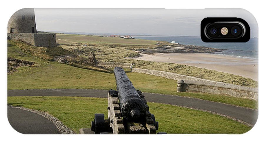 Canon IPhone X Case featuring the photograph Canon Defends Bamburgh Castle by Carl Purcell