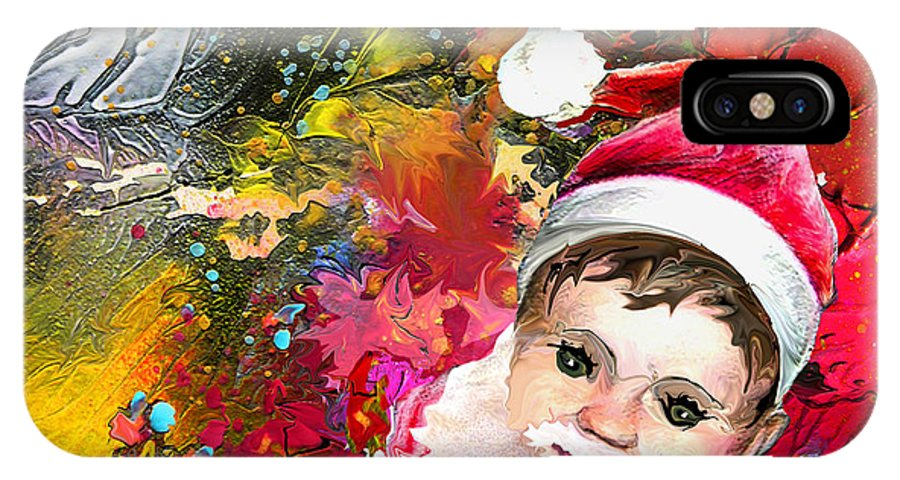 Santa Baby Painting IPhone X / XS Case featuring the painting Cant Stop Now by Miki De Goodaboom