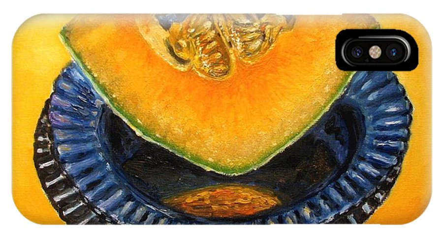 Cantaloupe IPhone X / XS Case featuring the painting Cantaloupe Oil Painting by Natalja Picugina