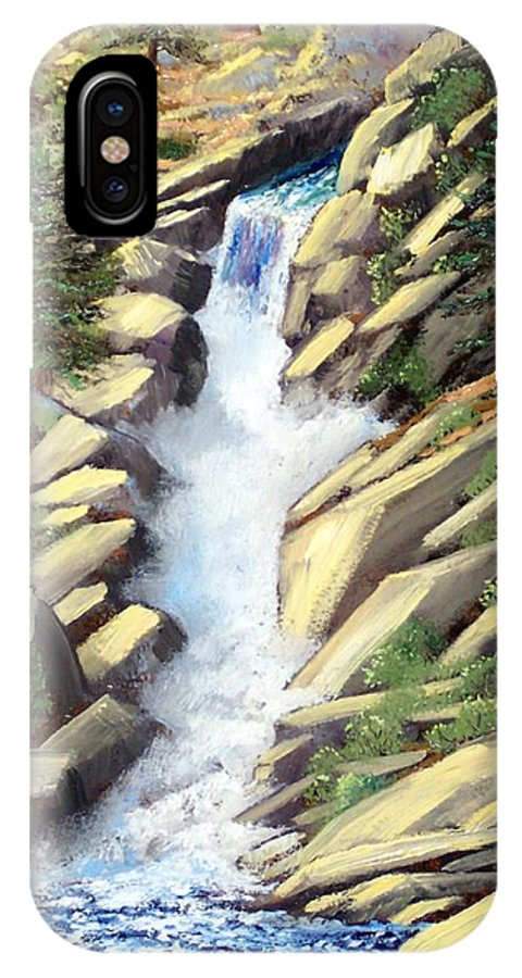 Landscape IPhone X Case featuring the painting Canyon Falls by Frank Wilson