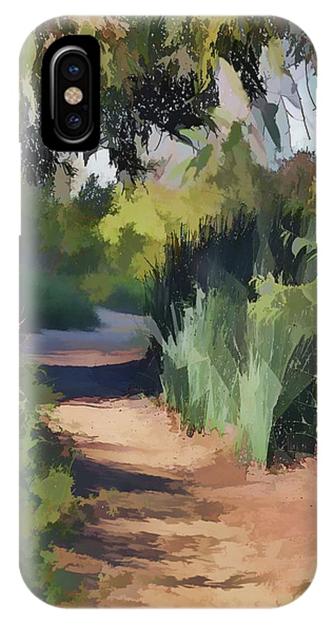 Linda Brody IPhone X Case featuring the digital art Canyon Path II Painterly by Linda Brody