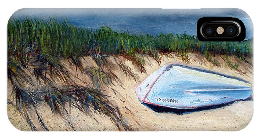 Boat IPhone X / XS Case featuring the painting Cape Cod Boat by Paul Walsh
