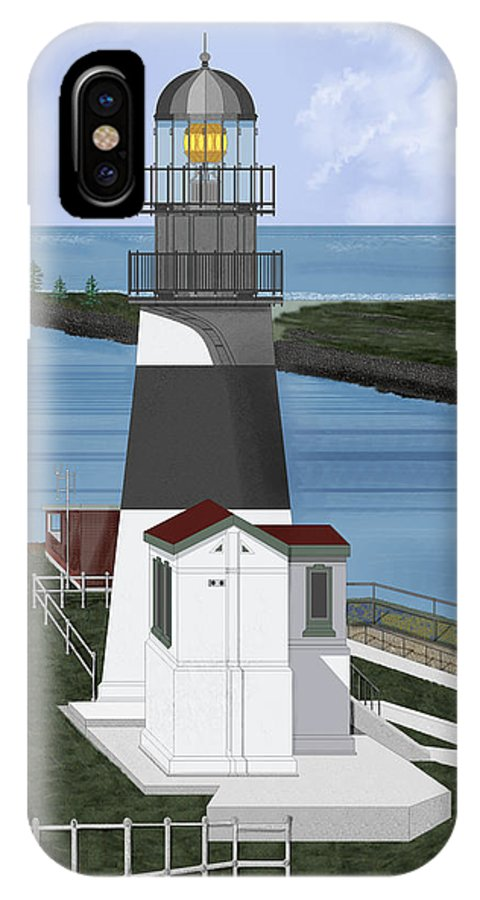 Lighthouse IPhone Case featuring the painting Cape Disappointment At Fort Canby Washington by Anne Norskog
