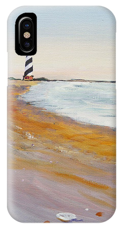 Cape Hatteras IPhone X Case featuring the painting Cape Hatteras Lighthouse by Anne Marie Brown