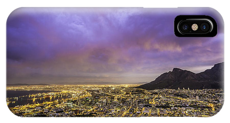 Landscape IPhone X / XS Case featuring the photograph Cape Town From Signal Hill At Sunset by Simone Zanetti