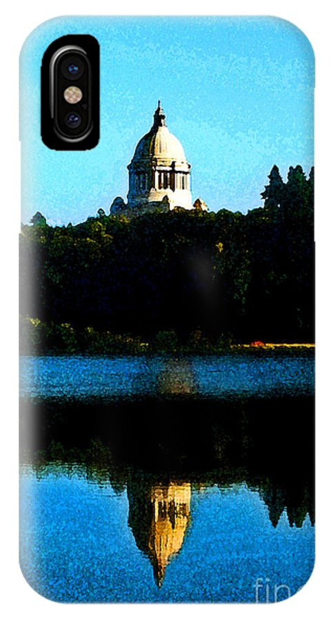 Lake IPhone X Case featuring the photograph Capital Lake by Larry Keahey